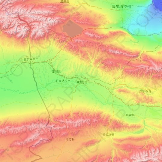 Ili topographic map, relief map, elevations map
