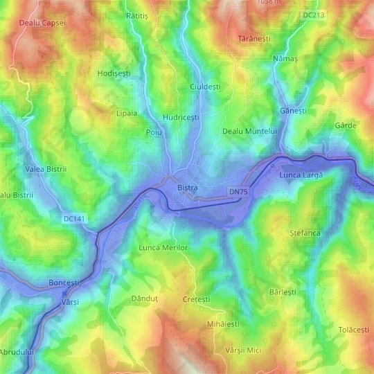 Bistra topographic map, relief map, elevations map