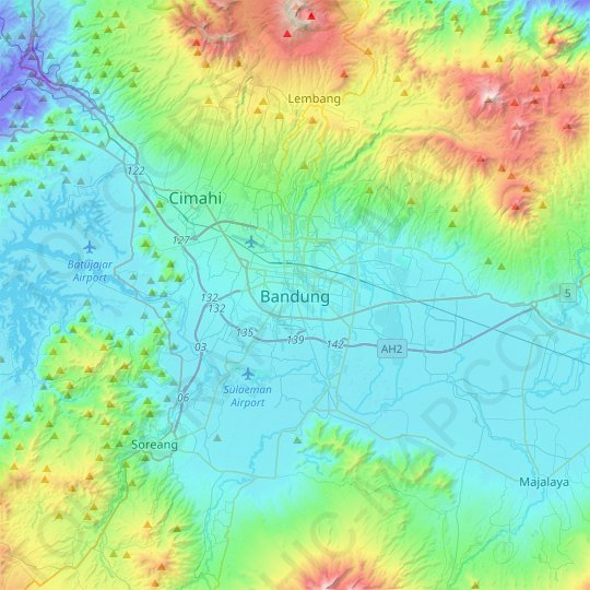 Bandung topographic map, relief map, elevations map