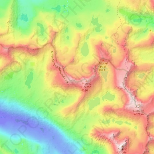 Goethe Glacier topographic map, relief map, elevations map