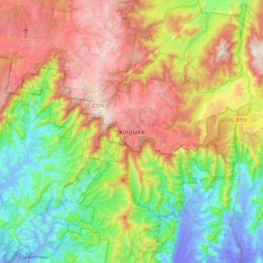 Kinglake topographic map, relief map, elevations map