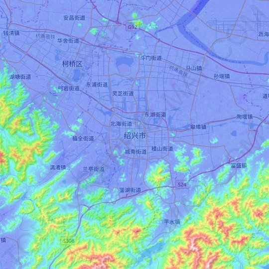 Shaoxing topographic map, relief map, elevations map
