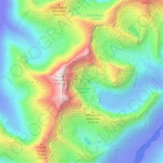 Whitecrow Glacier topographic map, relief map, elevations map