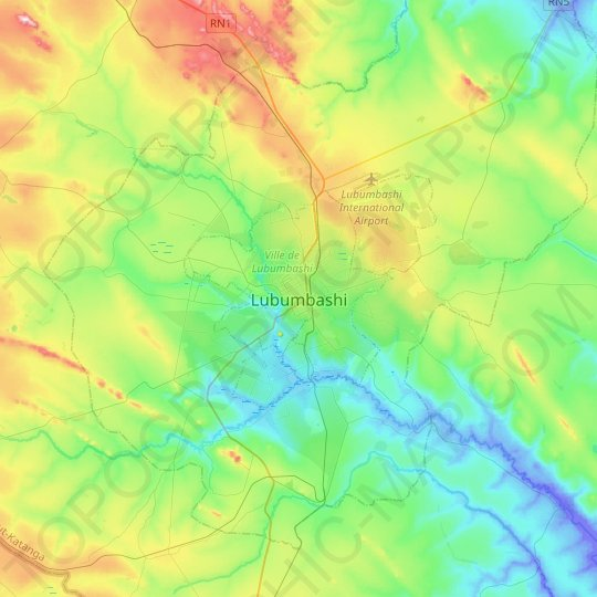 Lubumbashi topographic map, relief map, elevations map