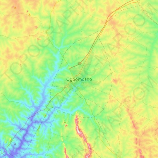 Ogbomosho topographic map, relief map, elevations map