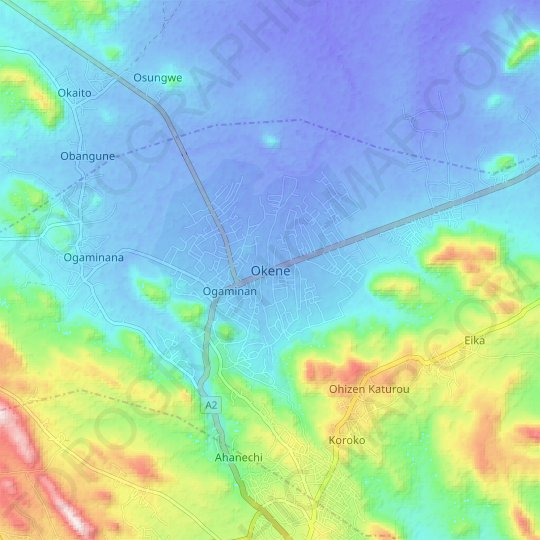 Okene topographic map, relief map, elevations map