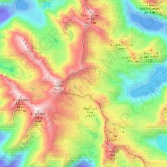 Fissure Glacier topographic map, relief map, elevations map