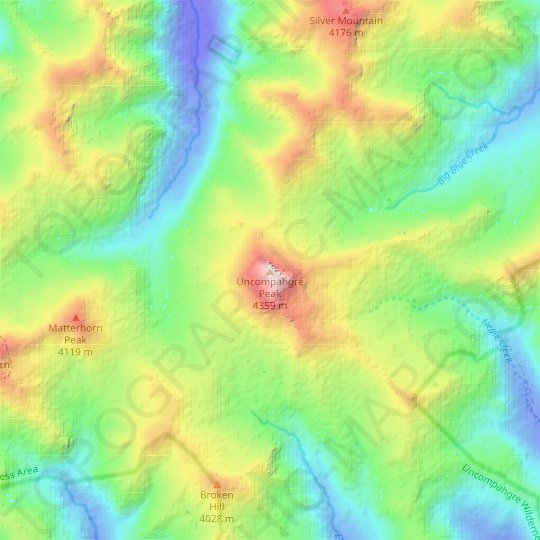 Uncompahgre Peak topographic map, relief map, elevations map