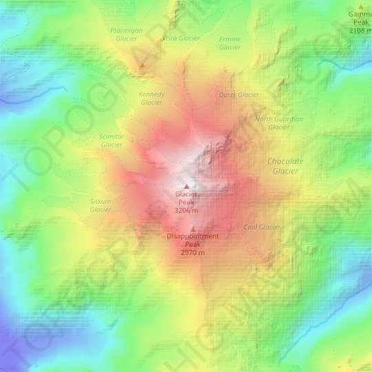 Glacier Peak topographic map, relief map, elevations map