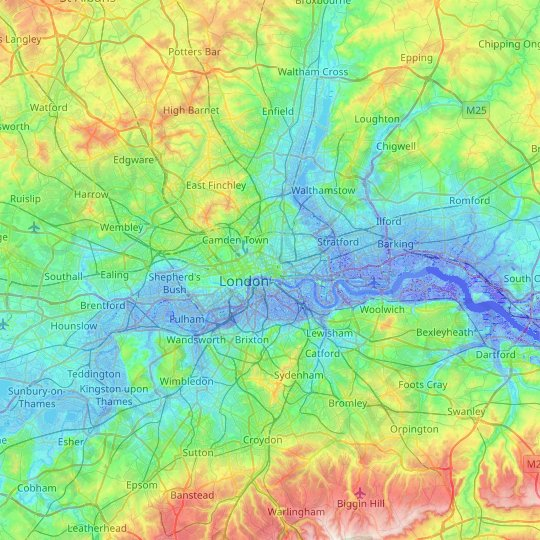 City of London topographic map, relief map, elevations map