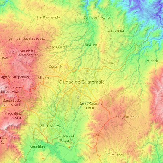 Guatemala City topographic map, relief map, elevations map