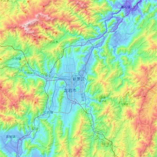 Longyan City topographic map, relief map, elevations map