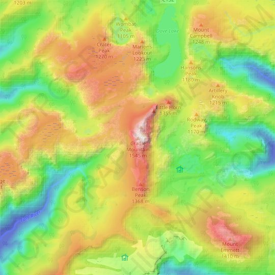 Cradle Mountain topographic map, relief map, elevations map