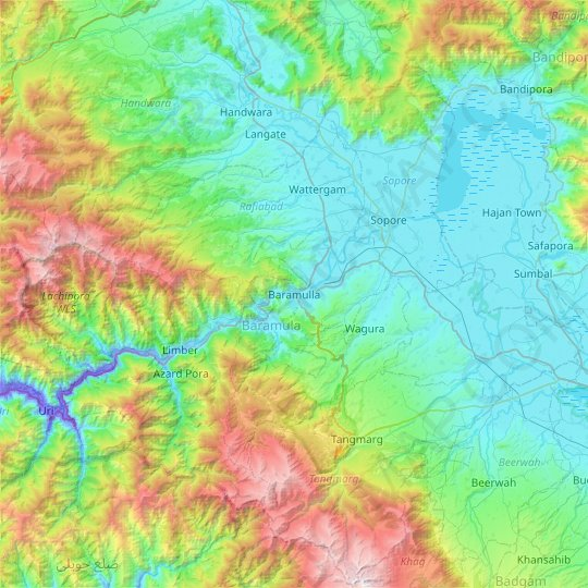 Baramulla topographic map, relief map, elevations map