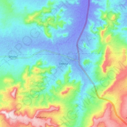 Dekina topographic map, relief map, elevations map