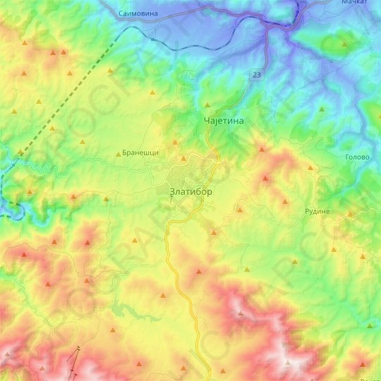 Zlatibor topographic map, relief map, elevations map