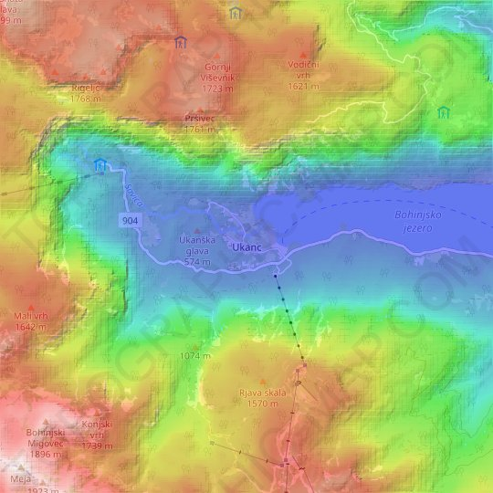Ukanc topographic map, relief map, elevations map