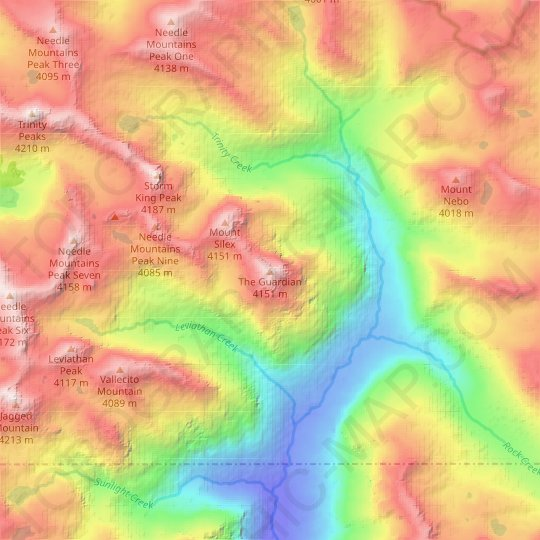 The Guardian topographic map, relief map, elevations map