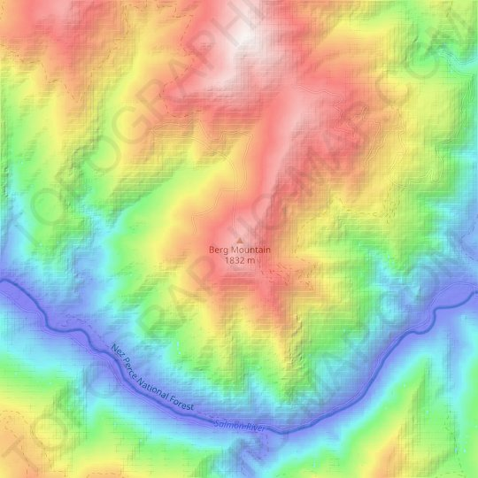 Berg Mountain topographic map, relief map, elevations map
