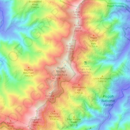 Mount Mitchell topographic map, relief map, elevations map