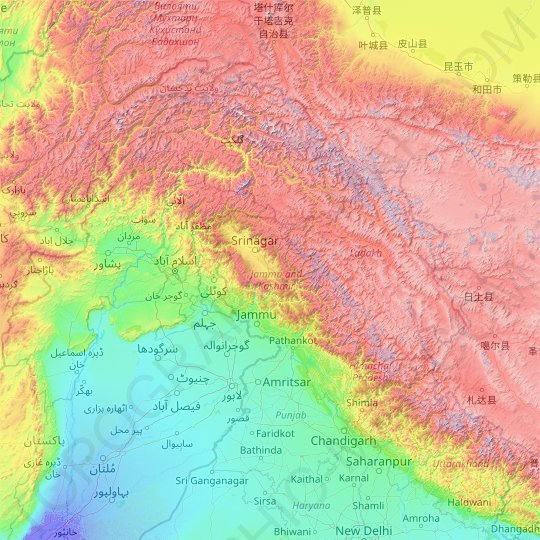 Jammu and Kashmir topographic map, elevation, relief