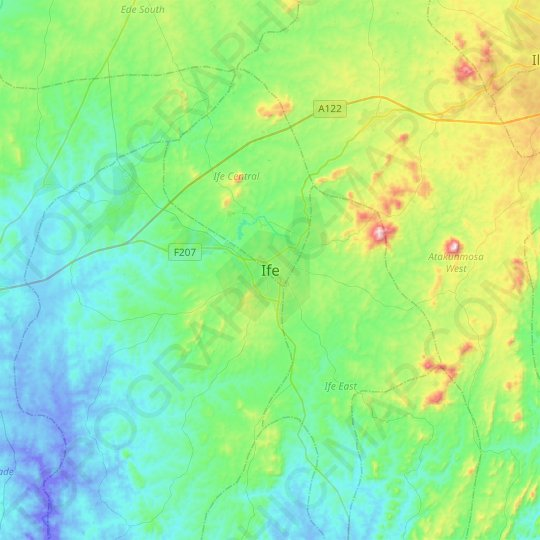Ife topographic map, elevation, relief