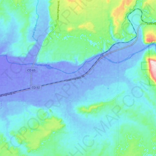 Read topographic map, relief map, elevations map