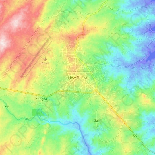New Bussa topographic map, elevation, relief