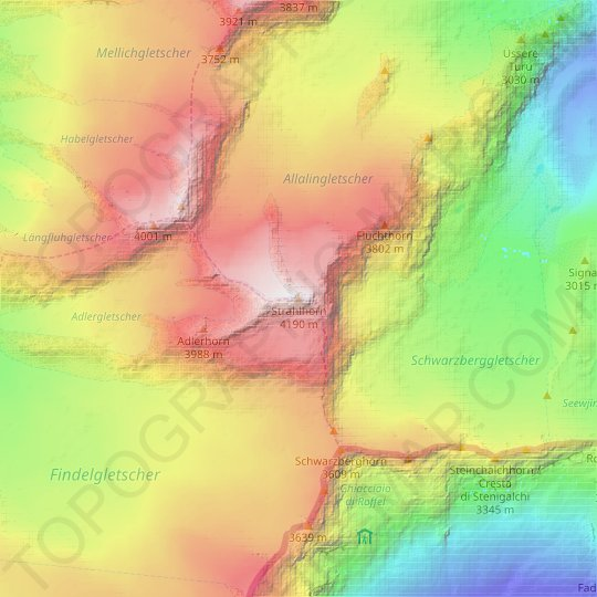 Strahlhorn topographic map, relief map, elevations map