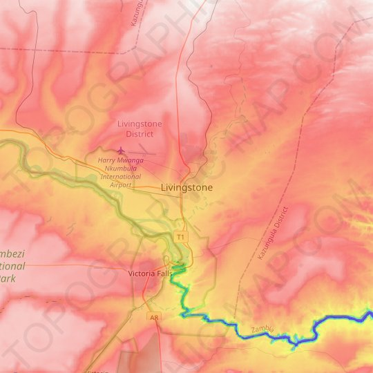 Livingstone topographic map, relief map, elevations map