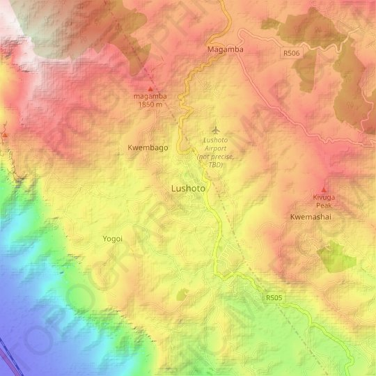 Lushoto topographic map, relief map, elevations map