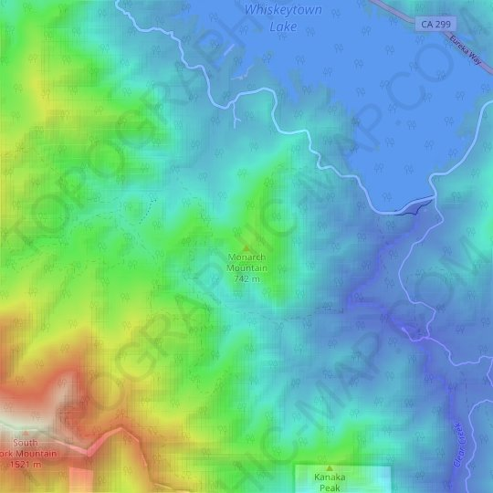 Monarch Mountain topographic map, relief map, elevations map