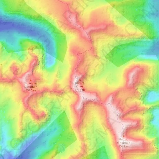 Mount Zirkel topographic map, relief map, elevations map