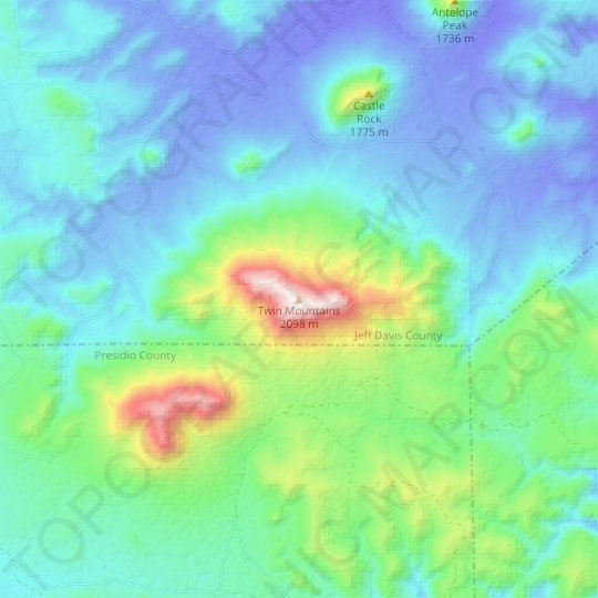 Twin Mountains topographic map, relief map, elevations map
