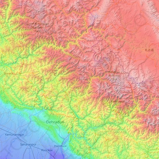 Uttarkashi topographic map, relief map, elevations map