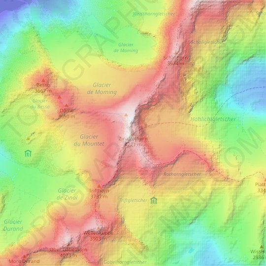 Zinalrothorn topographic map, relief map, elevations map