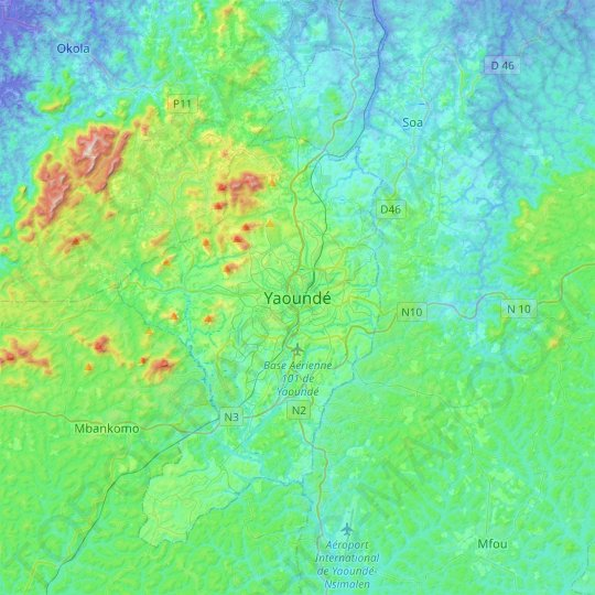 Yaounde topographic map, relief map, elevations map