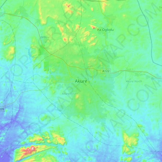Akure topographic map, elevation, relief