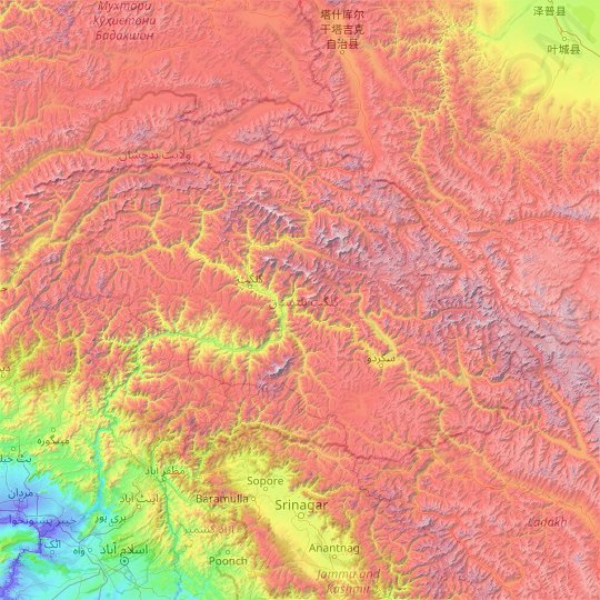 Gilgit-Baltistan topographic map, elevation, relief