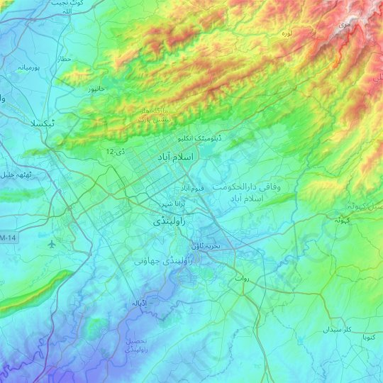 Islamabad Capital Territory topographic map, elevation, relief