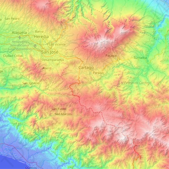 Cantón Cartago topographic map, relief map, elevations map