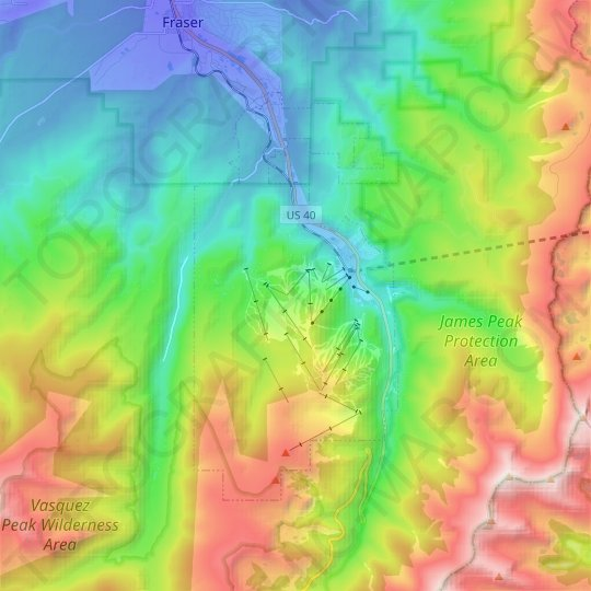 Winter Park topographic map, relief map, elevations map