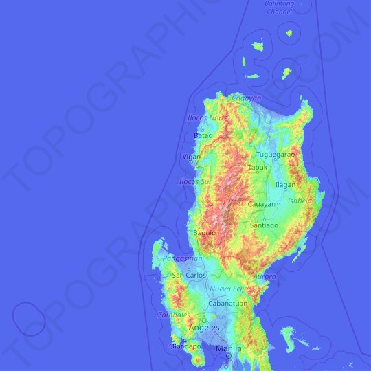 Ilocos Region topographic map, elevation, relief