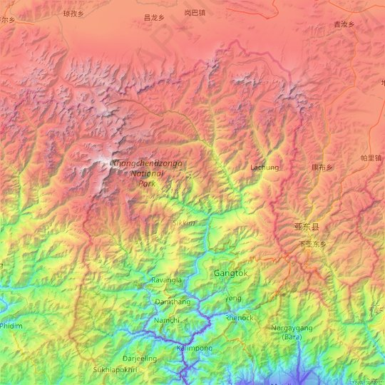 Sikkim topographic map, elevation, relief