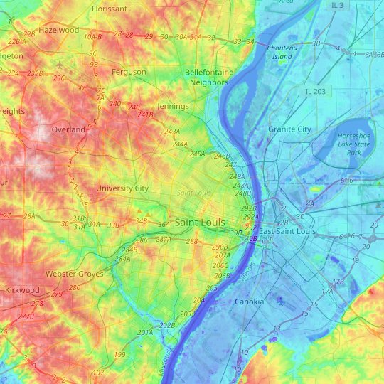 City of Saint Louis topographic map, elevation, relief