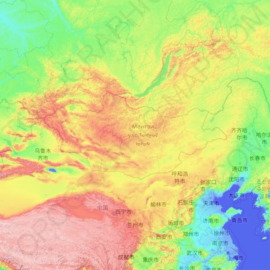 Mongolia topographic map, elevation, relief
