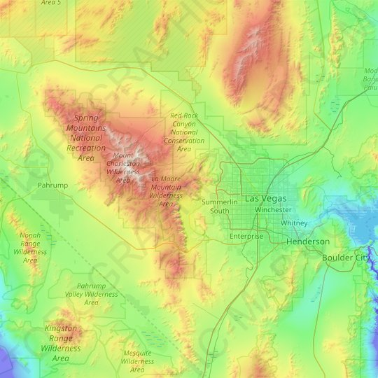Red Rock Canyon National Conservation Area topographic map, relief map, elevations map