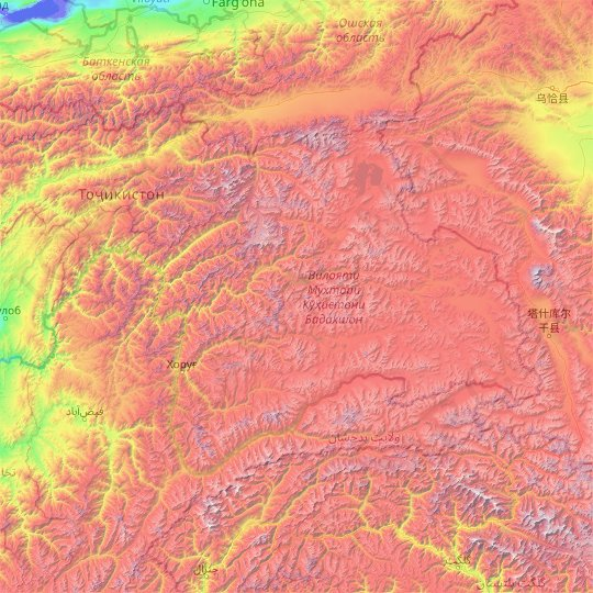 Gorno-Badakhshan Autonomous Region topographic map, elevation, relief
