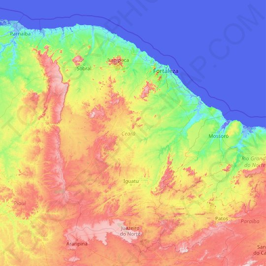 Ceará topographic map, elevation, relief