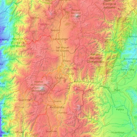 Tungurahua topographic map, elevation, relief